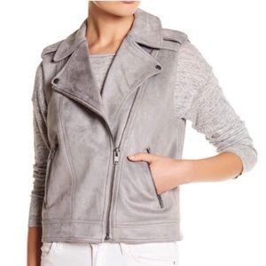 Philosophy Gray Faux Leather Suede Moto Vest